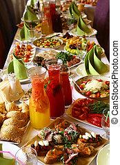 軽食, レストラン, 食物, 飲みなさい, 長い間, テーブル, サービスされた
