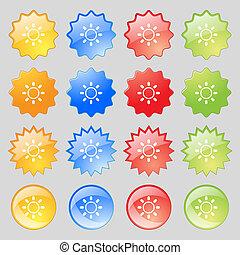 輝き, カラフルである, ボタン, あなたの, 現代, 16, セット, アイコン, 印。, 大きい, design.