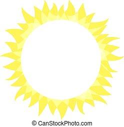 輝き, 夏, 概念, 明るく, 平ら, 単純である, 太陽, 日当たりが良い, 形, イラスト, 明るい, ベクトル,...
