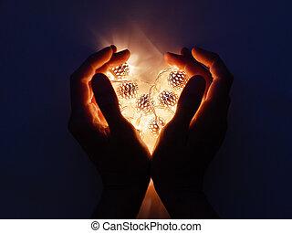 輝き, 電球, マジック, ライト, dark., 金属, 装飾, 形, パターン, デリケートである, 手, reflections., heart., 休日