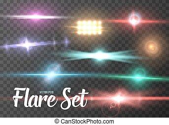 輝き, effect., ライト, set., レンズ, 現実的, ベクトル, テンプレート, 火炎信号, 太陽, 透明, 白熱