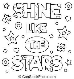 輝き, illustration., のように, ベクトル, page., stars., 着色