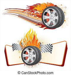 輪子, 以及, 火焰