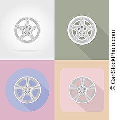 輪子, 套間, 圖象, 汽車, 插圖, 矢量