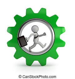 輪子, 齒輪, 人們, -, 小, 商人, 3d