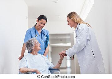 輪椅, 手, 病人, 藏品, 醫生
