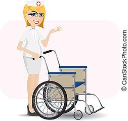 輪椅, 護士, 卡通
