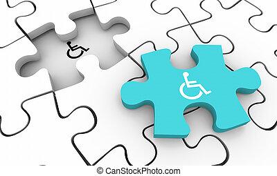 輪椅, 難題, 無能力, 解決, 插圖, 無能力, 人, 解決, 部分, 符號, 3d