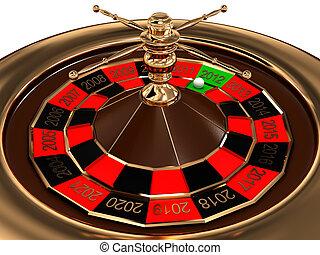 輪盤賭, 由于, 年, 被隔离, 在懷特上, 背景。, 3d, 圖像