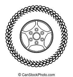 輪胎, 以及, 輪子, 矢量, 插圖