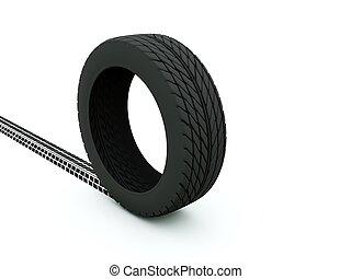 輪胎, 由于, 軌道, 被隔离, 在懷特上