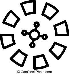 輪郭, カジノ, vector., イラスト, ルーレット, シンボル, 隔離された, アイコン