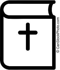 輪郭, 隔離された, イラスト, シンボル, vector., 聖書, アイコン