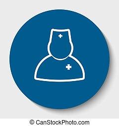 輪郭, illustration., 医者, isolated., 印, 暗い, バックグラウンド。, vector., cerulean, 円, 白, アイコン