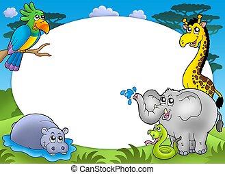 輪, 框架, 由于, african, 動物