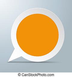 輪, 演說泡, 橙, 中心