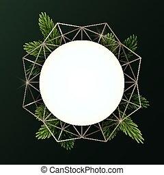 輪, 環繞, 飛行物, 聖誕節, 樅樹, 旗幟, 分支, 空間, 或者, 矢量, 幾何學, 形狀。, template., text., 花冠