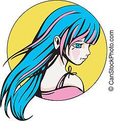 輪, 肖像, ......的, 年輕, 漂亮, anime, 女孩