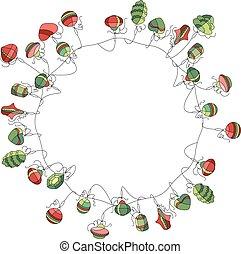 輪, 花冠, 被隔离, white., 聖誕節, 簡單, 裝飾, colors.