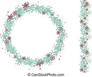 輪, 花冠, 被隔离, white., 聖誕節