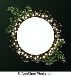 輪, 花環, 飛行物, 聖誕節, 環繞, 樅樹, 旗幟, 分支, 空間, 或者, 矢量, 發光, bulbs., template., text., 花冠