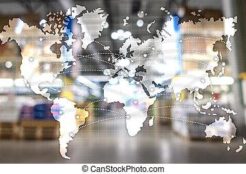 輸入, ロジスティクス, partnership., エクスポート, 地図, 世界的である, concept.