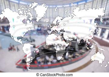 輸入, 地図, エクスポート, ロジスティクス, concept., partnership., 世界的である