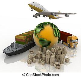 輸送, の, 輸送, ありなさい, 荷を積みなさい