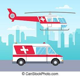 輸送, 概念, 医療のイラスト, ベクトル, 自動車, 救急車, サービス, ヘリコプター, 白い赤