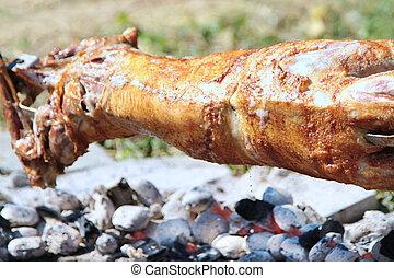 轉動, 烤, 整體, 小羊, 上, 煤炭, 火