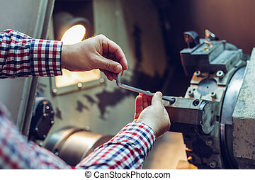 轉動, 車床, 金屬, 安裝, 細節, 機器, 設備, 操作