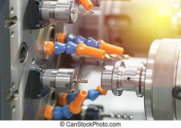 轉動, 過程, 影響, 或者, 機器, 當時, 點燃, cnc, 板條, 操練