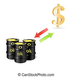 轉換, ......的, 美元, 以及, 油