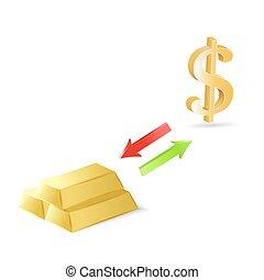 轉換, ......的, 美元, 進, 金