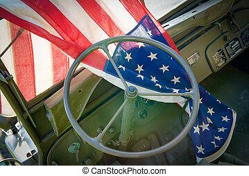 车辆, ww2, 美国人旗, 军方