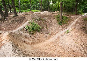 轨道, 为, 跳跃的尘土, 在上, 自行车, 在, the, 森林