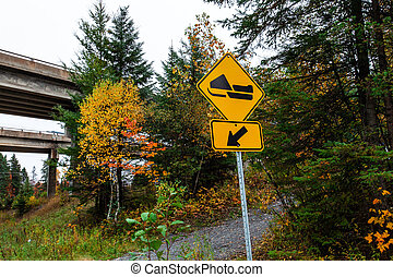 轨道, -, 黄色的征候, 雪上汽车, 2/3, 道路, 左边左