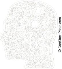 轮子, 不同, outline, 品种, 头, 矢量, 背景, 白色, 图标, 齿轮