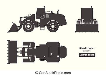 轮子, 推土机, 工业, 侧面影象, image., 边, 柴油机, 水力, 装载, 背景。, 顶端, 黑色, 机械, 前面, 观点。, 文件, 挖掘者, 白色, blueprint.