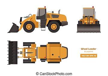 轮子, 蓝图, 工业, image., 边, 柴油机, 水力, 装载, 背景。, 顶端, 机械, 前面, 观点。, 图, 挖掘者, 白色, bulldozer.