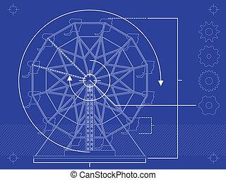 轮子, ferris, 蓝图