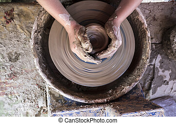 轮子, potters, 孩子, 碗, 手, 形成
