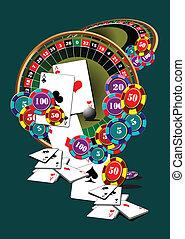 轮盘赌桌子, 同时,, 娱乐场, 元素