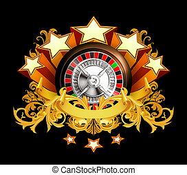 轮盘赌, 勋章, 在上, 黑色, 10eps