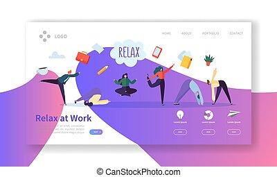 辦公室人們, template., 网, 工作, 放松, customize., 考慮, website., 容易, 咖啡, 事務, 放鬆, 著陸, 毀坏, 插圖, 字符, 編輯, 工作, 或者, 矢量, 頁