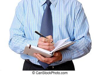 辦公室人員, 寫, 注釋, 在, the, 日記