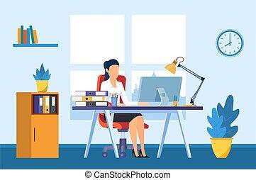 辦公室書桌, 從事工商業的女性, 工作, 電腦