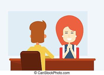 辦公室, 事務, 坐, 遇到桌子, 客戶, 婦女