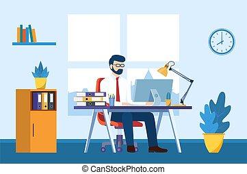 辦公室, 事務, 書桌, 人, 工作, 電腦