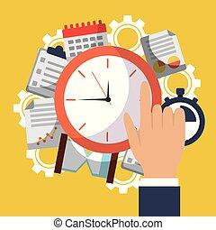 辦公室, 事務, 鐘, 工作, 手, 時間